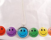 PARTY FAVOR Smile Bottle Cap NECKLACE Happy Face with Individual Organza Bags and Silver Ball Chain