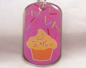 PARTY FAVOR DOGTAG Custom Cupcake Birthday Necklace with silver ball chain