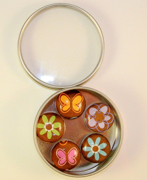 FUNKY FLOWER MAGNET cabochon set of five 1 inch acrylic not glass with rare earth neodymium magnet