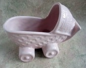 SALE Pink vintage Haeger baby buggy planter, circa 1942. Art pottery.