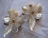 White flower blossom vintage clip-on earrings.  faux mother of pearl