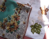 RESERSVED for Anna Vintage1950's hanky. Linen & Cotton.  Teal, brown. yellow, green