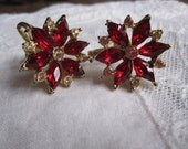 RESERVED for Miia  Red and clear rhinestone crystal screw-on flower earrings.  Vintage