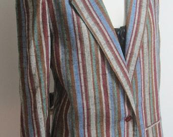 Retro Striped Sport Jacket.  JBJ rayon blend,  Women's Size 16