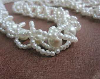 Vintage 70's woven faux pearl necklace.  Uber long white pearl necklace.