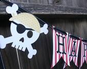 Pirate Skull Happy Birthday Party Banner