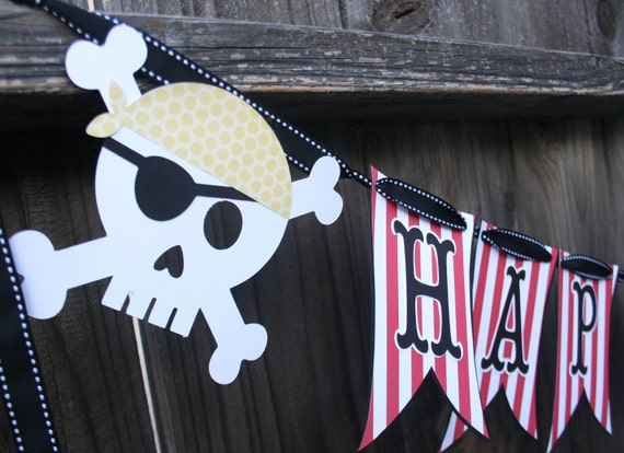 Pirate Skull Happy Birthday Party Banner