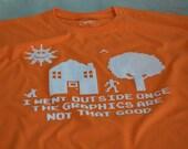 Gamer t shirt men man kid teen geek boys kids geek tshirt nerdy funny 8 bit geekery shirt video game son nerdy cool orange screenprint gift