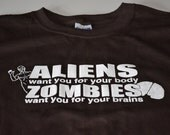 Zombie tshirt funny aliens and zombies womens mens youth teen kids ladies boys girls geekery cute funny t shirt XS - 5XL (Plus Size)