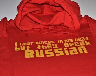 I hear Russian voices funny hoodie Russia hooded sweatshirt men women soviet ussr cccp communist country red fleece sweater screenprint gif