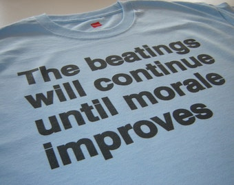 Funny Office Manager Work Superviser T shirt the beatings will continue until morale improves control freak shirt for boss or employees