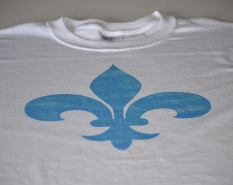 Flower Shirt for Women or Men French T Shirt Vintage Style Distressed Fleur des lis tshirt French symbol blue flower sigil