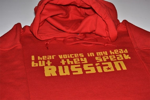 I hear Russian voices funny hoodie Russia hooded sweatshirt men women soviet ussr cccp communist country red fleece sweater screenprint gif
