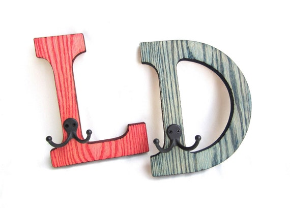 INITIAL COAT RACKS / Hangers / Childrens Personalized / Wood Burned / Set of Two