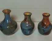Handthrown 3 pottery vases Cosmic Blues Greens, Browns