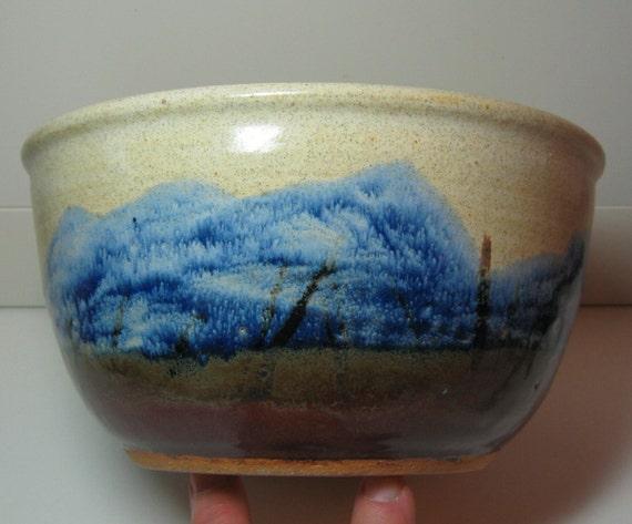 Mountain Scene Pottery Bowl