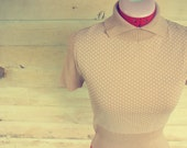 tan vintage cropped sweater