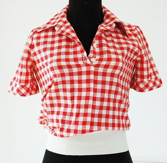 pretty red and white gingham womens shirt