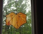 Hanging leaf glass orange and yellow suncatcher