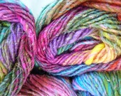 Noro Silk Garden, color 87, rainbow pinks, reds, green, yellow...