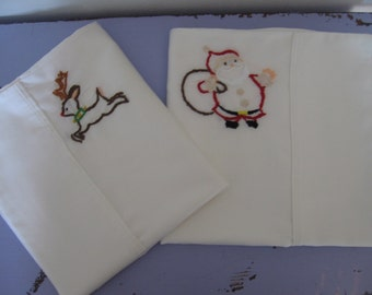 Made to Order-Hand Embroidered Reindeer & Santa Pillowcases