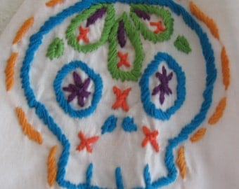 Made to Order-Hand Embroidered Mexican Skull V-neck T-Shirt