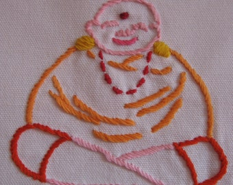 Made to Order-Hand Embroidered Happy Buddha Tea Towel