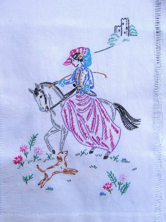 Vintage Hand Embroidered Woman Riding a Horse Table Runner