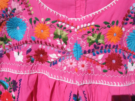 Vintage Magenta Hand Embroidered Mexico Tunic