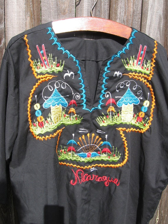 Clearance-Vintage Embroidered Nicaragua Tunic