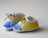 HALFPRICE INVENTORY SALE - only one available - Embellished Baby Shoes in Pastel Blue and Yellow