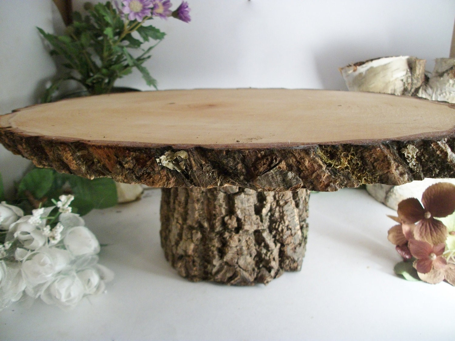 Items Similar To Small Rustic Oval Cake Stand Wood Cake