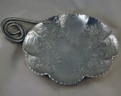 ADDITIONAL 10% OFF...SALE  Vintage Large Hand Forged Aluminum Serving Dish Floral Unique Handle Farber Shelvin