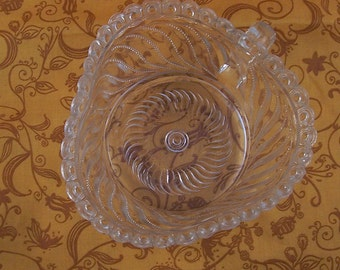 ADDITIONAL 10% OFF...SALE  Vintage Clear Heart Shaped Bowl Pressed Glass Beautiful