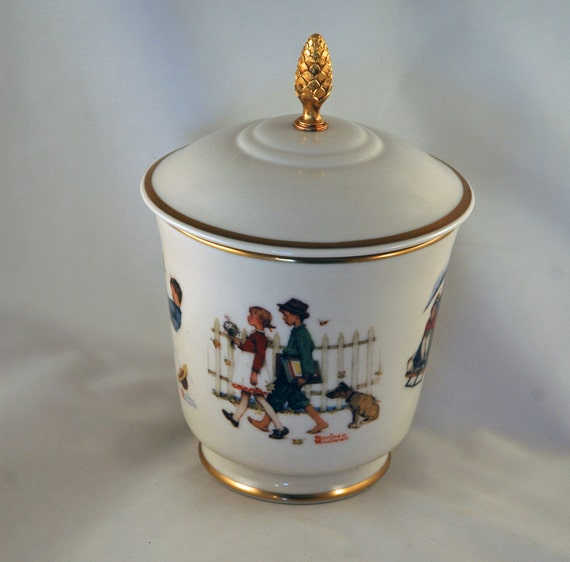SALE  Vintage Gorham Norman Rockwell Covered Dish Young Love Series Various Scenes Mint