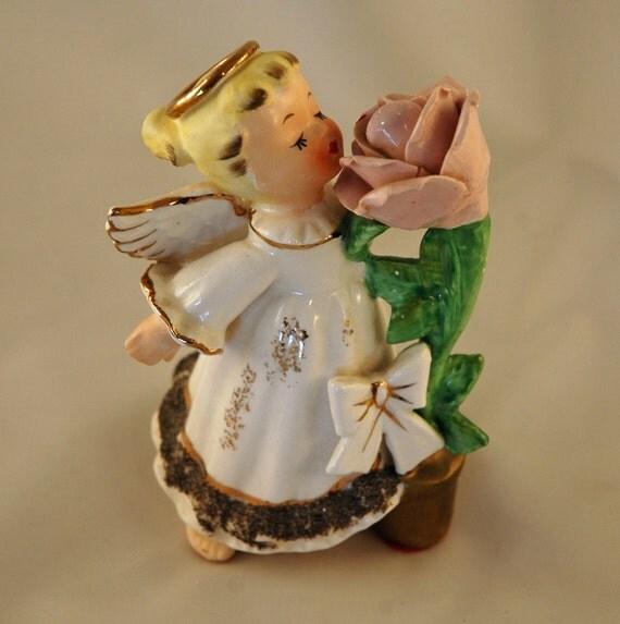 RESERVED for Ping  Vintage Angel Smelling Rose Glitter Dress Japan So Sweet