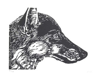 Black Fox Linocut