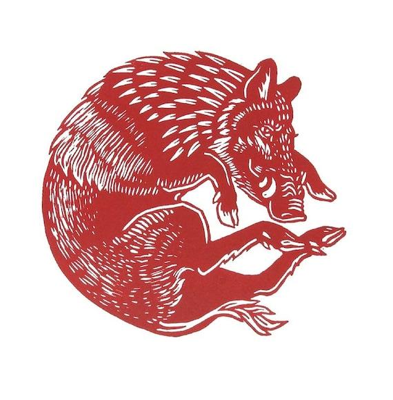 Red Boar Linocut Print
