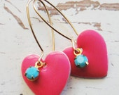 Sweet Pink Heart Earrings.  Pink Heart and Vintage Turquoise Drop Earrings. Modern Romance. Valentine. Heart. Valentine's Day.