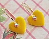 Yellow Heart Drop Earrings. Yellow Earrings. Valentine, Heart Earrings. Valentine Fashion, heart jewelry