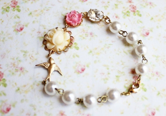 Ivory Rose Flower Bracelet. Vintage Inspired. Bridesmaids. Romance. Wedding. Floral Jewelry. Bohemian. Pastel. Fashion. Gift for her.
