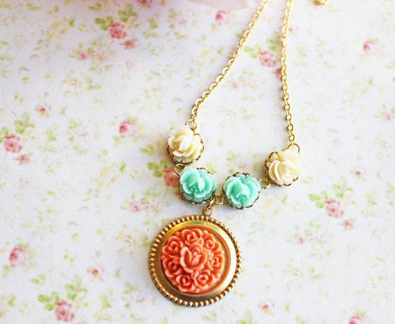 Summer Dreams Necklace. Tangerine and Seafoam Flowers. Summer Wedding. Coral. Floral Jewelry. Spring. Bridesmaids. Weddings. Romance.