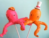 Tangerine and Pink Melon Octopus  wedding cake topper