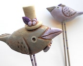 Bird wedding cake topper in Lilac Gray and Purple for the Rustic Country Wedding
