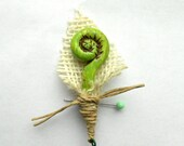 Rustic Groom or Groomsmen Boutonniere with Green Fiddlehead and Burlap Leaf