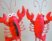Red Lobsters In Love wedding cake topper for the Rustic Beach Wedding