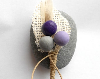 Rustic Groom or Groomsmen Boutonniere in Smoke Grey Eggplant and Lupin Purple with Burlap Leaf