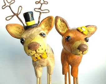 Wedding Cake Topper Deer in Love Rustic Country Wedding