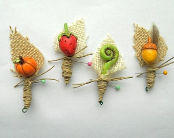 Rustic Groom or Groomsmen Boutonniere with Fall Pumpkin and Burlap Leaf