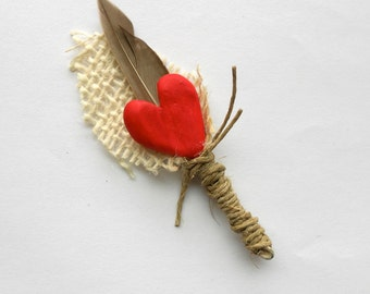 Rustic Groom or Groomsmen Boutonniere with Red Heart Feather and Burlap Leaf